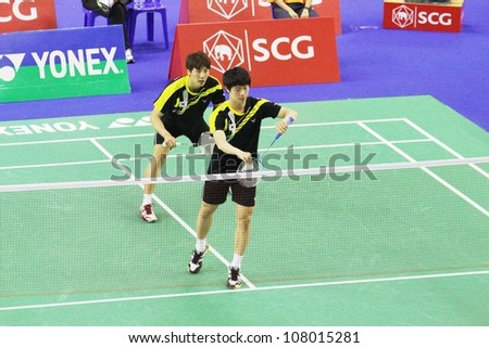 BANGKOK, THAILAND- JUNE 5: Kang J. and S.Lee in action during SCG Thailand Open Grand Prix Gold 2012 on June 5, 2012 at CU Sport Complex in Bangkok, Thailand
