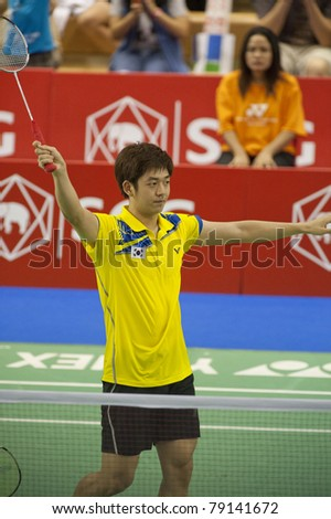 BANGKOK, THAILAND- JUNE 11: Lee Yong Dae in the preliminary rounds of SCG Thailand Open Grand Prix Gold 2011 on June 11, 2011 in Bangkok, Thailand - stock photo