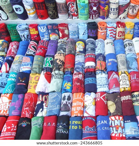 Bangkok , Thailand - June 12, 2010 : many colorful shirts for sale at a market entertainment - stock photo