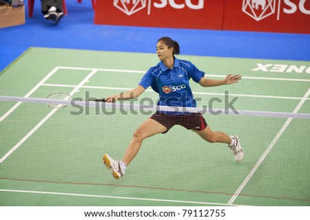 BANGKOK THAILAND- JUNE 11 : P.Buranaprasertsuk in action in the Final rounds of SCG Thailand Open Grand Prix Gold 2011 on June 11, 2011 in Bangkok ,Thailand - stock photo