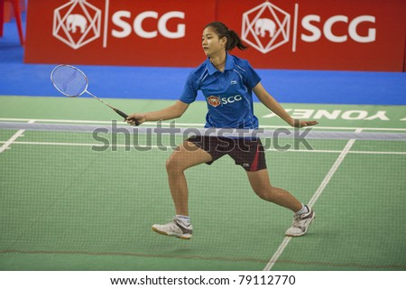 BANGKOK THAILAND- JUNE 11 : P.Buranaprasertsuk in action in the Final rounds of SCG Thailand Open Grand Prix Gold 2011 on June 11, 2011 in Bangkok ,Thailand