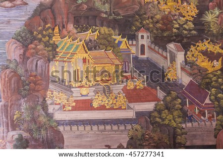 "Bangkok, Thailand - June 5, 2016 : Painting on wall of Ramayana at The Emerald Buddha temple or ""Wat Prakaew"" temple in Grand Palace of Thailand."