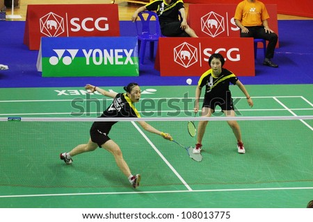BANGKOK, THAILAND- JUNE 5: Park S. and Soo Jin in action during SCG Thailand Open Grand Prix Gold 2012 on June 5, 2012 at CU Sport Complex in Bangkok, Thailand