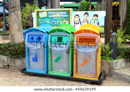 Bangkok - Thailand , June 23 - 2016 : Recycle bin in public place at Thailand , separate scrap for recycle , glass , paper and general scrap.  - stock photo