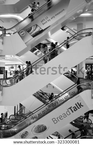 BANGKOK, THAILAND - JUNE 20, 2015: shopping center interior. Shopping malls and department stores of Bangkok become shopping Mecca for shopaholics - stock photo