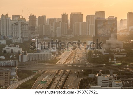BANGKOK /THAILAND-June 6.Sunset at Bangkok Expressway and Highway top view, Thailand on June 6.2015. - stock photo