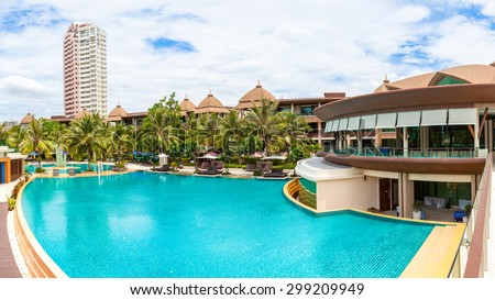 BANGKOK THAILAND - JUNE 18 : Swimming pool of luxury hotel names Spring Field at Sea hotel in Cha-am Phetchaburi, Thailand on June 18, 2015, panorama