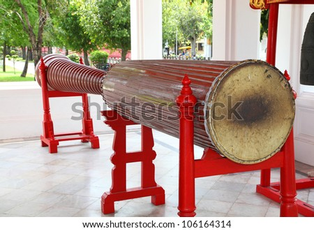 BANGKOK, THAILAND - JUNE t: Over 150 years big ancient long drum which used in royal ceremony in Thailand at Benjamaborphit temple ,Bangkok, Thailand. June 1st, 2012.