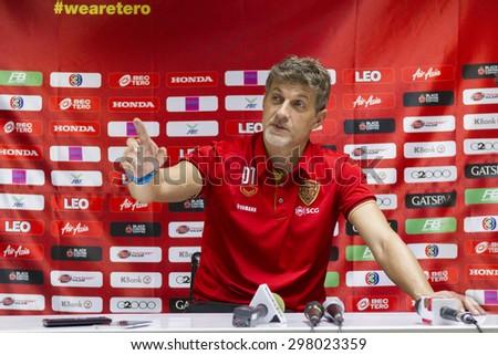 BANGKOK,THAILAND:JUNE 2015:Talajin Dragan Head Coach of Mungthong;BEC-Tero Sasana-SCG Muangthong United at 72nd Anniversary Stadium;inThai Premier League on18July2015,Bangkok Thailand. - stock photo