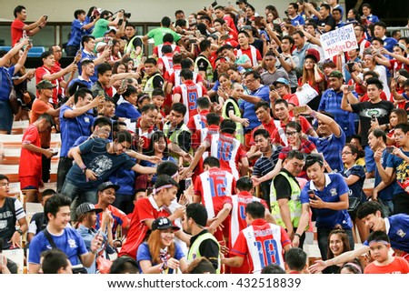 BANGKOK,THAILAND-June 5 : The Fanclub of Thailand celebrate with the Player during the King's Cup Thailand 2016 between Thailand Team and Jordan Team at Rajamangala Stadium on June 5 2016 in Thailand.