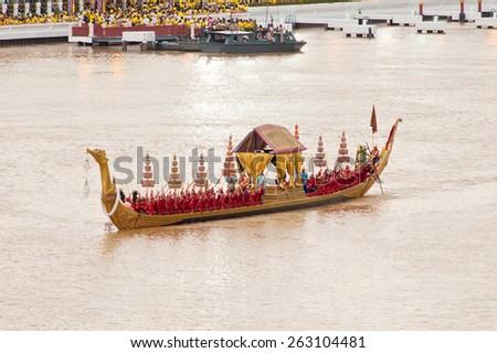 BANGKOK THAILAND-JUNE 9: The Royal Barge Suphannahong in Royal Barge Procession on June 9,2006 at Wat Arun Bangkok,Thailand - stock photo