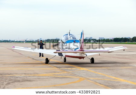 Bangkok Thailand 5 june 2016 : The training aircraft Chicken CT-4A which the new pilot practice was preparing to parking at Don muang international airport