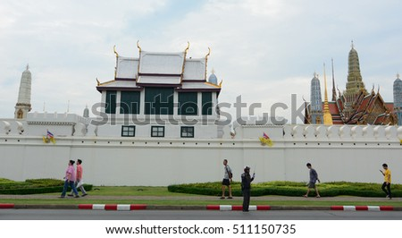 Bangkok, Thailand - June 30, 2015. View of Grand palace of Bangkok, Thailand.