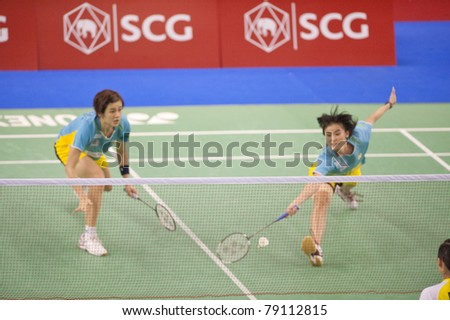 BANGKOK THAILAND- JUNE 11 : Vivian Kah Mun Hoo and Khe Wei woon in action in the Final rounds of SCG Thailand Open Grand Prix Gold 2011 on June 11, 2011 in Bangkok ,Thailand - stock photo