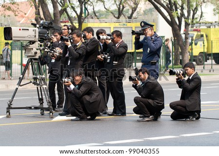 BANGKOK, THAILAND - MAR. 31 : Group of unidentify photographer take photo during funeral of hrh princess Petcharat on march 31, 2012 in Bangkok Thailand.