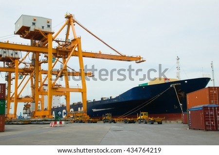 Bangkok, Thailand - Mar 16, 2006: the Port Authority of Thailand. With a cargo ship to harbor cranes loading containers