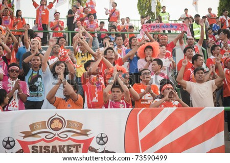 BANGKOK THAILAND - MAR 19: The  sisakit Fc Fans / supporters in Thai Premier League (TPL) between Army Utd. (green) vs Sisaket Mungthail Fc (pring) on March 19, 2011 at Army Stadium in Bangkok Thailand