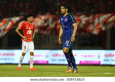 BANGKOK THAILAND-MARCH11:Anggello Machuca of Navy Football Club in action during Thai Premier League BEC-Tero Sasana and Navy Football Club.at 72-years Anniversary Stadium on March 11,2015 in Thailand - stock photo