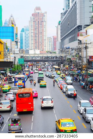 BANGKOK, THAILAND - MARCH 26, 2013: Bangkok had one of the worst traffic problems in the world with unbelievable traffic jams.  - stock photo