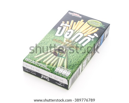 BANGKOK, THAILAND - MARCH 13, 2015 : Biscuit stick box with pocky brand isolated on white background