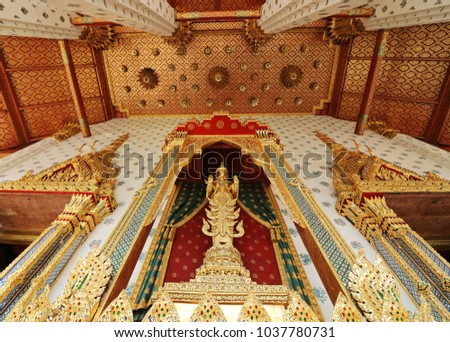 Bangkok,Thailand-March 1,2018:Buddha statue and Bose pattern at Wat Arun Ratchawaram Bangkok Thailand.