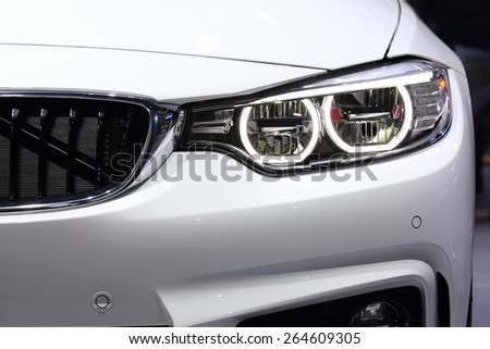 BANGKOK, THAILAND - MARCH 28, 2015: close up of front view of  BMW car  on March 28 2015 in Bangkok Thailand. - stock photo