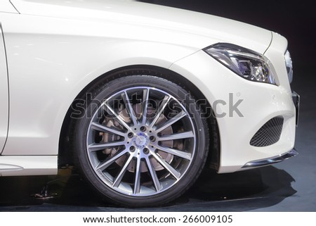 BANGKOK, THAILAND - MARCH 24 : Closed up Mercedes Benz CLS 250 CDI Coupe displayed at the 36th Bangkok International Motor show  in March 24, 2015. Bangkok, Thailand - stock photo