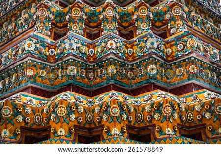 Bangkok, Thailand - March 22, 2011: decorative elements of the temple of Wat Pho, which is one of the largest and oldest (1781 A.D) tempels in Bangkok, a sacred and historical place in Thailand  - stock photo