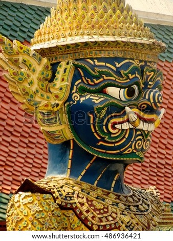 Bangkok, Thailand, March 18 - Demon statue in the Temple of Emerald Buddha, Bangkok on March 18, 2016.