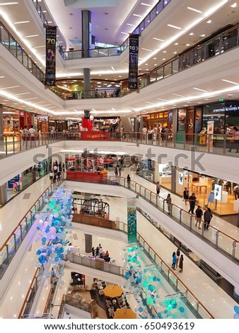 BANGKOK, THAILAND - MARCH 30 : Department store interior view with aisle  at Central Chaengwattana on March 30, 2017 in Bangkok, Thailand.