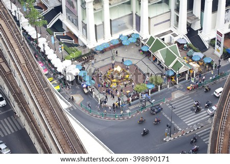 BANGKOK,THAILAND - March 30, 2016 : Erawan Shrine, Hindu shrine Aerial cityscape  view of Ratchaprasong area on March 30, 2016 in Bangkok. It is the main shopping and business street.  - stock photo