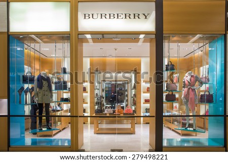 BANGKOK, THAILAND - MARCH 15 : Exterior view of Burberry Shop on March 15, 2015 in Bangkok, Thailand. It's a British luxury fashion house and was founded in 1856 - stock photo
