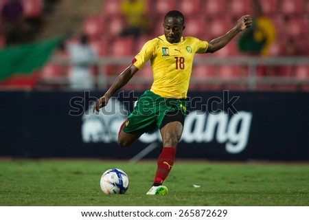 BANGKOK,THAILAND-MARCH 30:Eyong Enoh of Cameroon in action during the international friendly match between Thailand and Cameroon at Rajamangala Stadium on March30 2015 in,Thailand. - stock photo