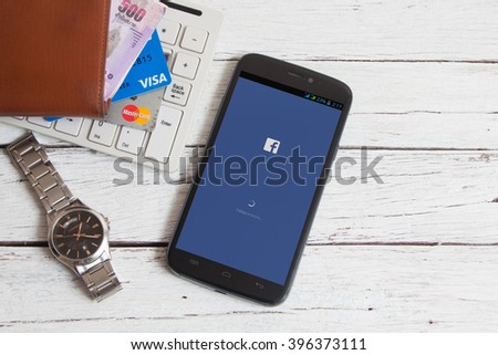 BANGKOK,THAILAND - March 25,2016: Facebook is an online social networking service founded in February 2004 by Mark Zuckerberg with his college roommates  - stock photo