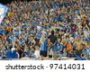 BANGKOK,THAILAND-MARCH 11: Fan club of Chonburi in Kor Royal Cupl (Charity) between Buriram UTD and Chonburi FC at National Stadium on March 11, 2012 in Bangkok, Thailand. - stock photo