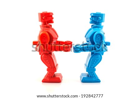 Bangkok,THAILAND - March 30, 2014: Fight robot red and blue. There are plastic toy sold as part of the Burger King toy.