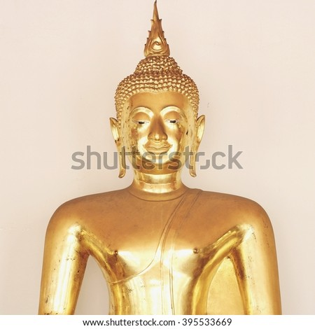 Bangkok- Thailand : March 4, 2016  Gold Buddha statues at Wat Pho, vintage tone