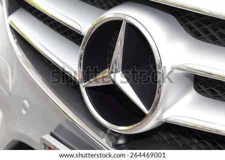 BANGKOK, THAILAND - MARCH 28, 2015: Logo of  Mercedes-Benz  2015 on March 28 2015 inBangkok Thailand.