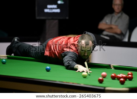 BANGKOK,THAILAND-MARCH 28: Mark Williams of Wales in action during Players Championship at Montien Riverside Hotel, Bangkok on March 28,2015 in Bangkok,Thailand