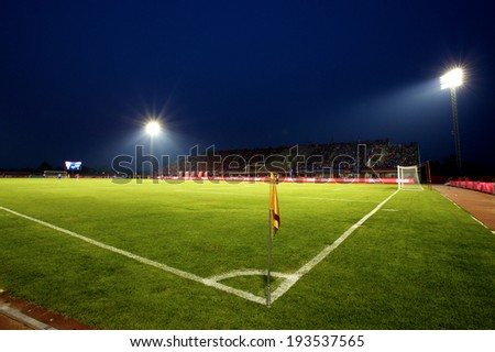 BANGKOK THAILAND-March 23:Panoramic View of 72-years Anniversary Stadium during Thai Premier League BEC-Tero Sasana and Chonburi F.C.at 72-years Anniversary Stadium on March 23,2014 in Thailand