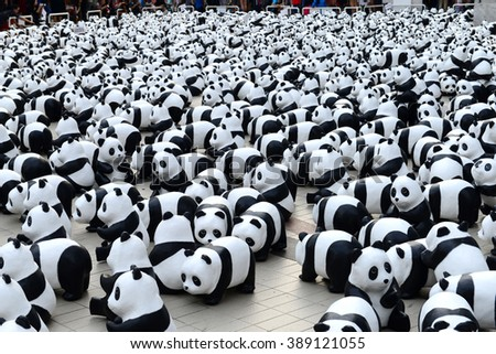 BANGKOK,THAILAND - MARCH 10, 2016 : 1600 Paper Mache Pandas Pop Up in Bangkok at Bangkok Art & Culture Centre on 10 March 2016. The number 1,600 represents how many pandas are left in the wild - stock photo