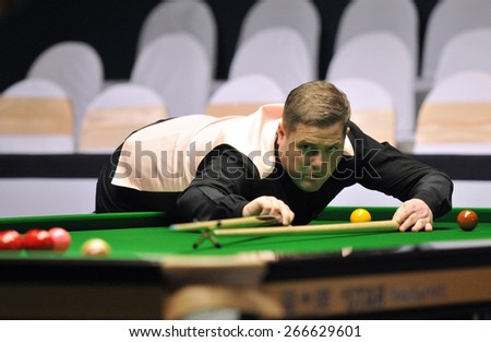 BANGKOK,THAILAND-MARCH 24: Robert Milkins of UK in action during 2015 The Players Championship at Montien Riverside Hotel, Bangkok on March 24,2015 in Bangkok,Thailand