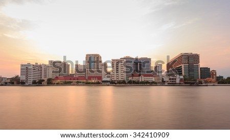 Bangkok, Thailand - March 8, 2015: Siriraj Hospital on the Chao Phraya River, one of the oldest and the most famous hospital in Thailand, it was founded since 1888.