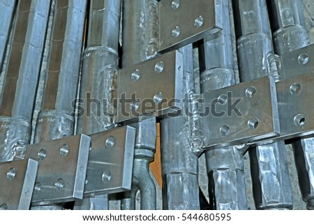 BANGKOK-THAILAND-MARCH 1 : Steel hardware for fitting electrical cable with steel tower in Transmission line on March 1, 2016 Bangkok, Thailand