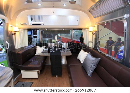 BANGKOK, THAILAND - MARCH 24 : The image shows inside decoration of Airstream Traval Trailer  displayed at the 36th Bangkok International Motor show in March 24, 2015. Bangkok, Thailand