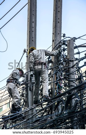 Bangkok Thailand March 10 2017,The repairman is fixing  cable line
