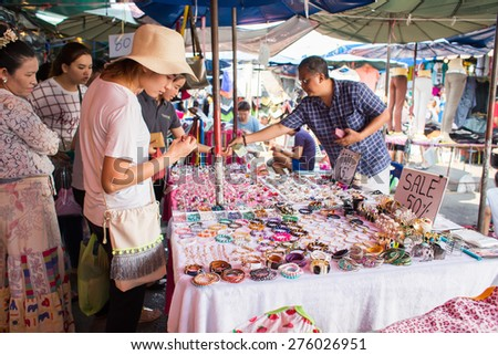BANGKOK, THAILAND - MARCH 15 : Unidentified tourist shops at Jatujak or Chatuchak Market on March 15, 2015 in Bangkok, Thailand. Jatujak Market is the largest market in Thailand. - stock photo