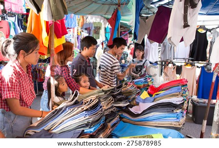 BANGKOK, THAILAND - MARCH 15 : Unidentified tourists shops at Jatujak or Chatuchak Market on March 15, 2015 in Bangkok, Thailand. Jatujak Market is the largest market in Thailand. - stock photo