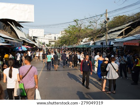 BANGKOK, THAILAND - MARCH 15 : View of Jatujak or Chatuchak Market on March 15, 2015 in Bangkok, Thailand. Jatujak Market is the largest market in Thailand.