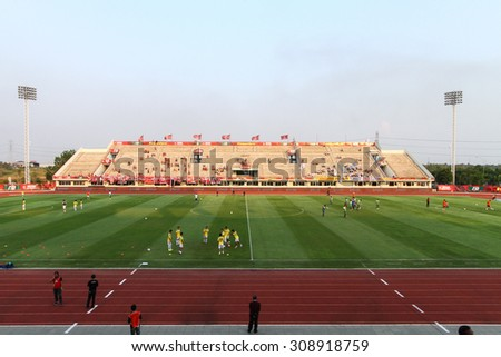 BANGKOK THAILAND-MARCH 11:View of 72-years Anniversary Stadium during Thai Premier League BEC-Tero Sasana and Navy Football Club.at 72-years Anniversary Stadium on March 11,2015 in Thailand - stock photo